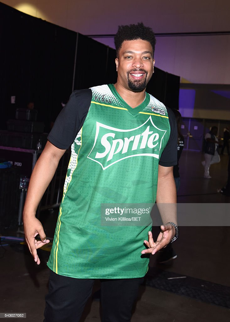 TV personality <a gi-track='captionPersonalityLinkClicked' href=/galleries/search?phrase=DeRay+Davis&family=editorial&specificpeople=566701 ng-click='$event.stopPropagation()'>DeRay Davis</a> is seen in the green room at the celebrity basketball game during the 2016 BET Experience at the JW Marriott Los Angeles L.A. Live on June 25, 2016 in Los Angeles, California.