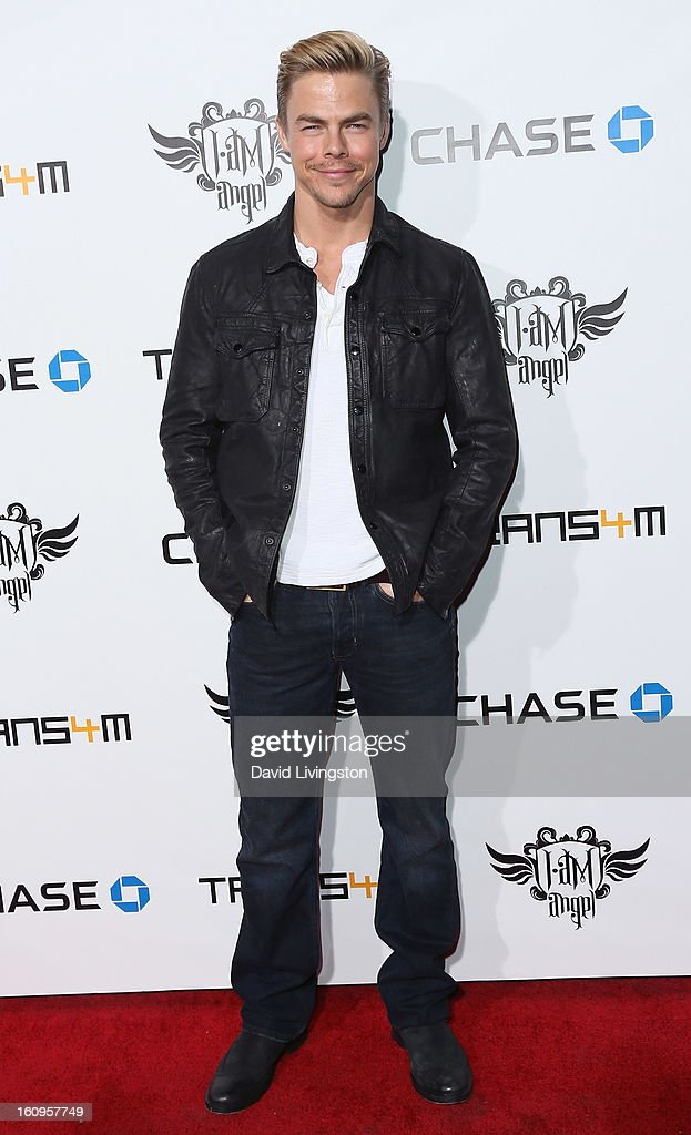 TV personality Derek Hough attends the 2nd Annual will.i.am TRANS4M Boyle Heights benefit concert at Avalon on February 7, 2013 in Hollywood, California.