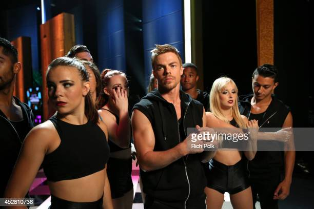 Personality Derek Hough backstage at the 2014 Young Hollywood Awards brought to you by Samsung Galaxy at The Wiltern on July 27 2014 in Los Angeles...