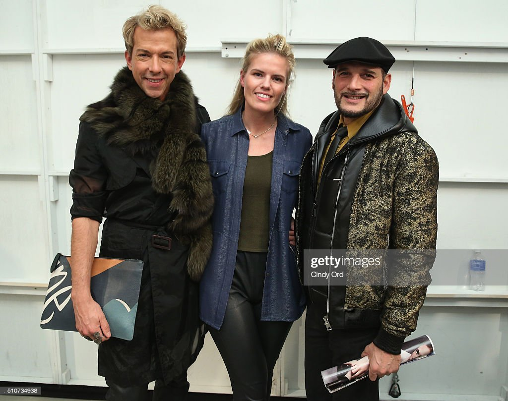 TV Personality Derek Warburton, designer Georgine Ratelband and TV personality Phillip Bloch pose at the Georgine Fall 2016 fashion show during New York Fashion Week: The Shows at The Gallery, Skylight at Clarkson Sq on February 16, 2016 in New York City.
