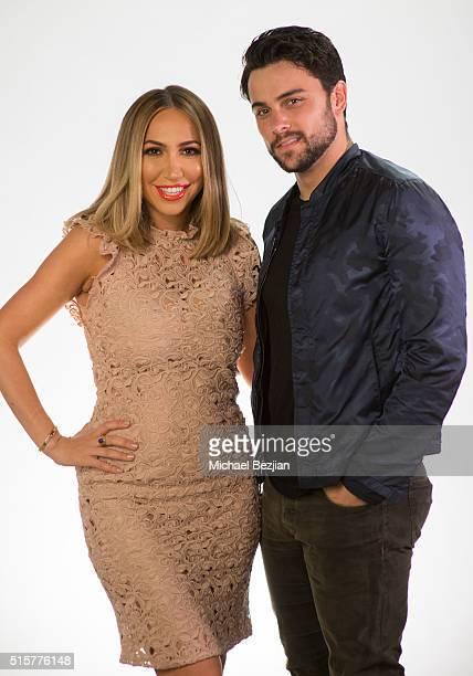 Personality Diana Madison and actor Jack Falahee pose for portrait at Jack Falahee Visits The Lowdown With Diana Madison on March 15 2016 in...