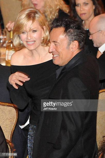TV personality Diane Sawyer and musician Bruce Springsteen attend at the 25th Annual Rock and Roll Hall of Fame Induction Ceremony at the...