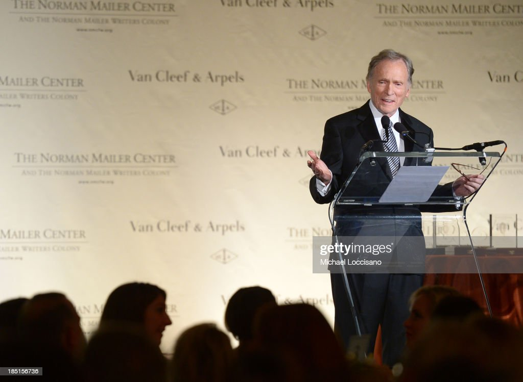 TV personality <a gi-track='captionPersonalityLinkClicked' href=/galleries/search?phrase=Dick+Cavett&family=editorial&specificpeople=217287 ng-click='$event.stopPropagation()'>Dick Cavett</a> speaks onstage at the Norman Mailer Center's Fifth Annual Benefit Gala sponsored by Van Cleef & Arpels at the New York Public Library on October 17, 2013 in New York City.