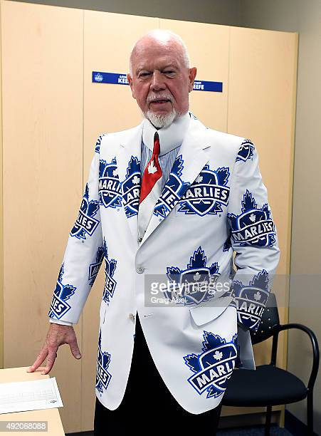 NHL personality Don Cherry shows off his new jacket a gift from the Toronto Marlies prior to Opening Night AHL game action on October 9 2015 at the...
