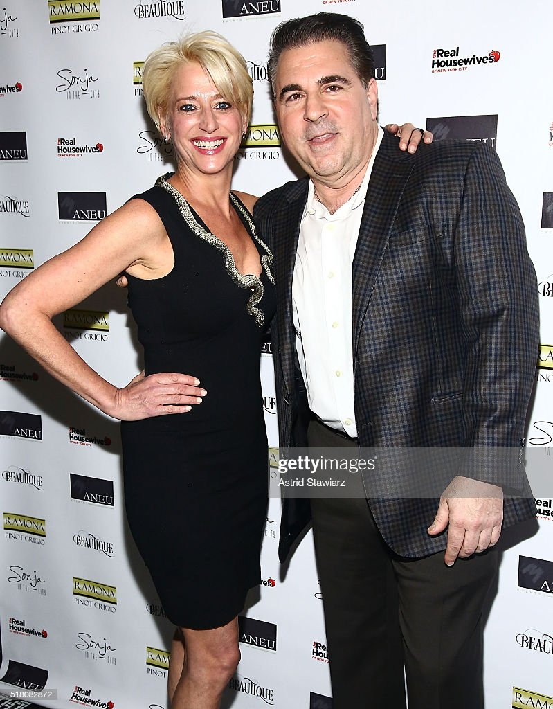 TV personality Dorinda Medley and Dr. Christopher Calapai attend 'The Real Housewives Of New York City' Season 8 Premiere Party at Beautique on March 29, 2016 in New York City.