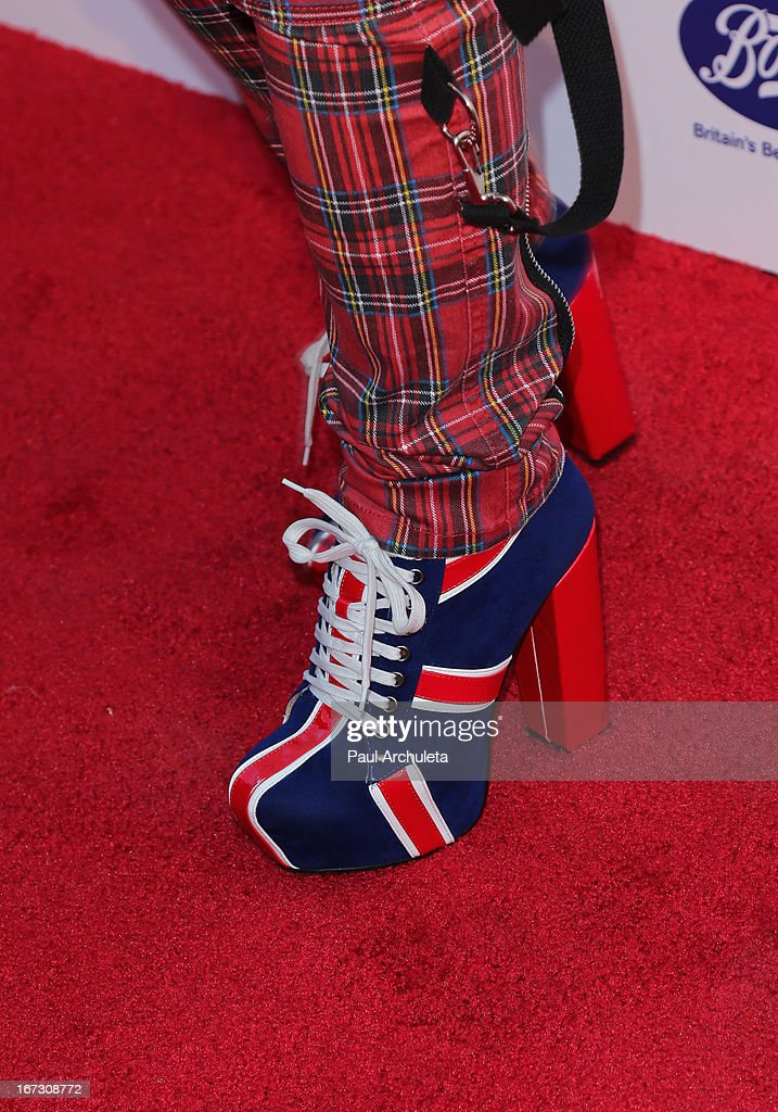 TV Personality Downtown Julie Brown (Shoe Detail) attends the 7th annual BritWeek Festival 'A Salute To Old Hollywood' launch party at the British Consul General's Residence on April 23, 2013 in Los Angeles, California.