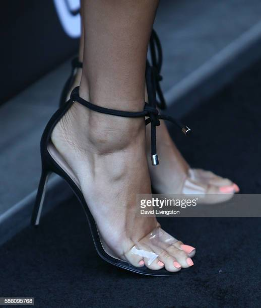 TV personality Draya Michele shoe detail attends 4moms launch of a selfinstalling car seat at Petersen Automotive Museum on August 4 2016 in Los...