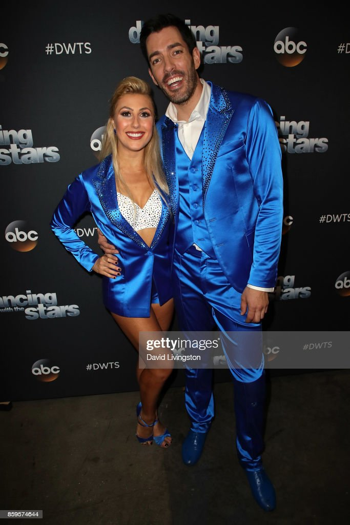 TV personality Drew Scott (R) and dancer Emma Slater attend 'Dancing with the Stars' season 25 at CBS Televison City on October 9, 2017 in Los Angeles, California.