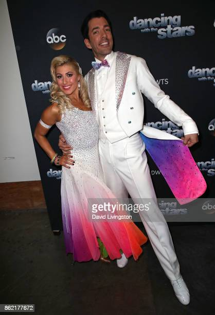 TV personality Drew Scott and dancer Emma Slater pose at 'Dancing with the Stars' season 25 at CBS Televison City on October 16 2017 in Los Angeles...