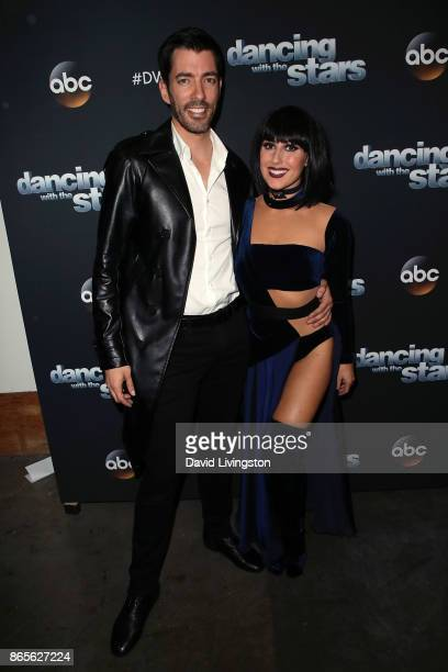 TV personality Drew Scott and dancer Emma Slater pose at 'Dancing with the Stars' season 25 at CBS Televison City on October 23 2017 in Los Angeles...
