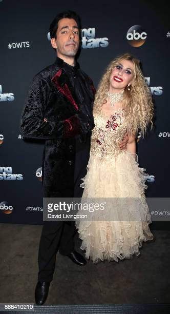 TV personality Drew Scott and dancer Emma Slater pose at 'Dancing with the Stars' season 25 at CBS Televison City on October 30 2017 in Los Angeles...