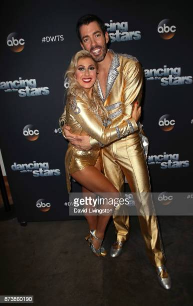 TV personality Drew Scott and dancer Emma Slater pose at 'Dancing with the Stars' season 25 at CBS Televison City on November 13 2017 in Los Angeles...