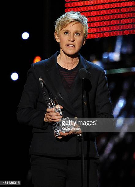 TV personality Ellen DeGeneres accepts the Favorite Daytime TV Host award onstage at The 40th Annual People's Choice Awards at Nokia Theatre LA Live...