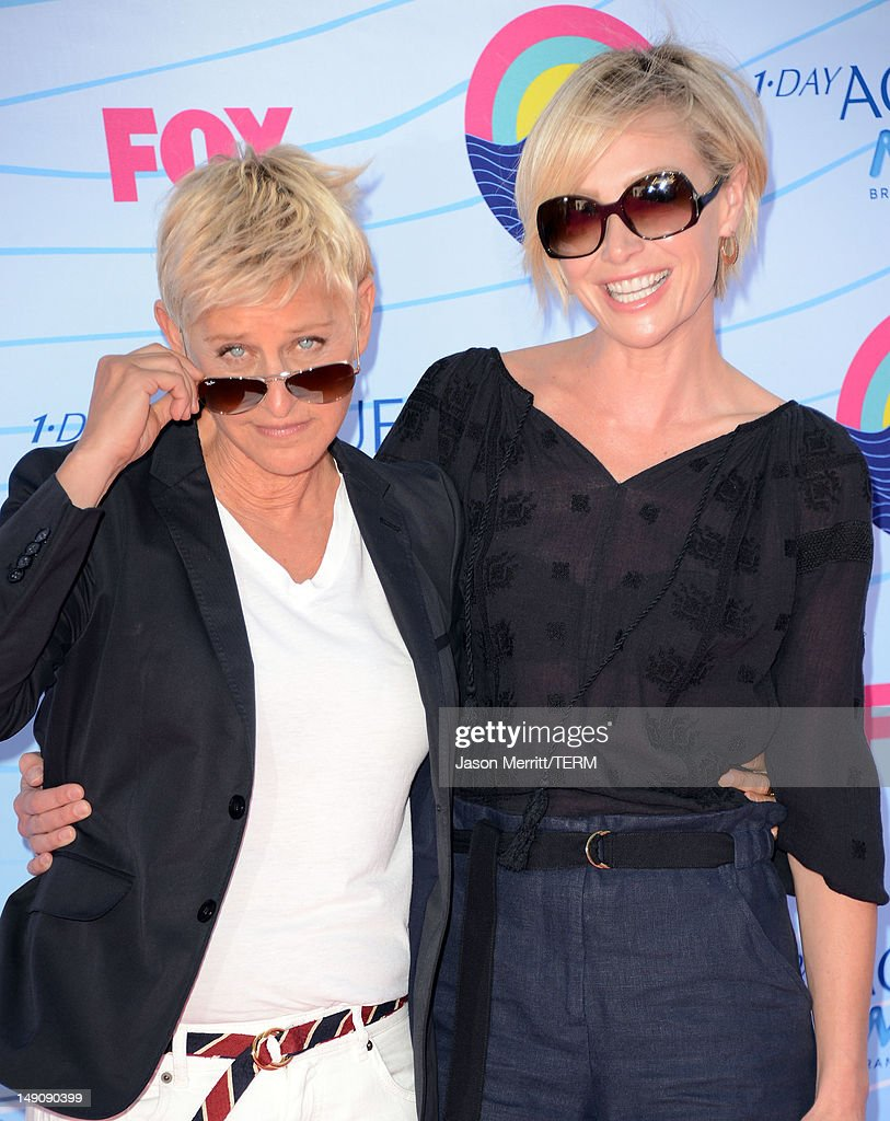 TV Personality Ellen DeGeneres and actress Portia de Rossi arrive at the 2012 Teen Choice Awards at Gibson Amphitheatre on July 22, 2012 in Universal City, California.