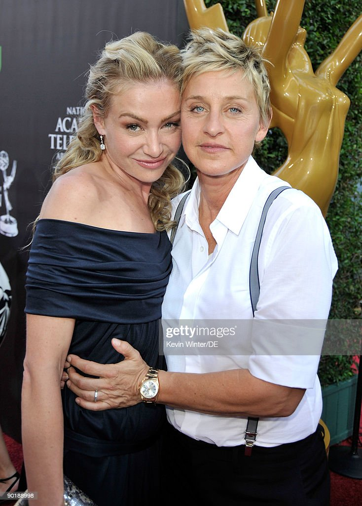 TV personality <a gi-track='captionPersonalityLinkClicked' href=/galleries/search?phrase=Ellen+DeGeneres&family=editorial&specificpeople=171367 ng-click='$event.stopPropagation()'>Ellen DeGeneres</a> (R) and actress Portia de Rossi arrive at the 36th Annual Daytime Emmy Awards at The Orpheum Theatre on August 30, 2009 in Los Angeles, California.