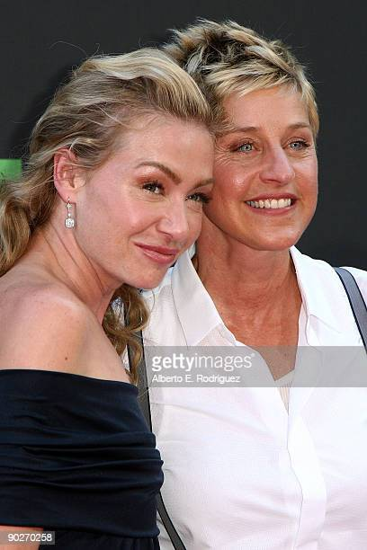 TV personality Ellen DeGeneres and actress Portia de Rossi arrive at the 36th Annual Daytime Emmy Awards at The Orpheum Theatre on August 30 2009 in...