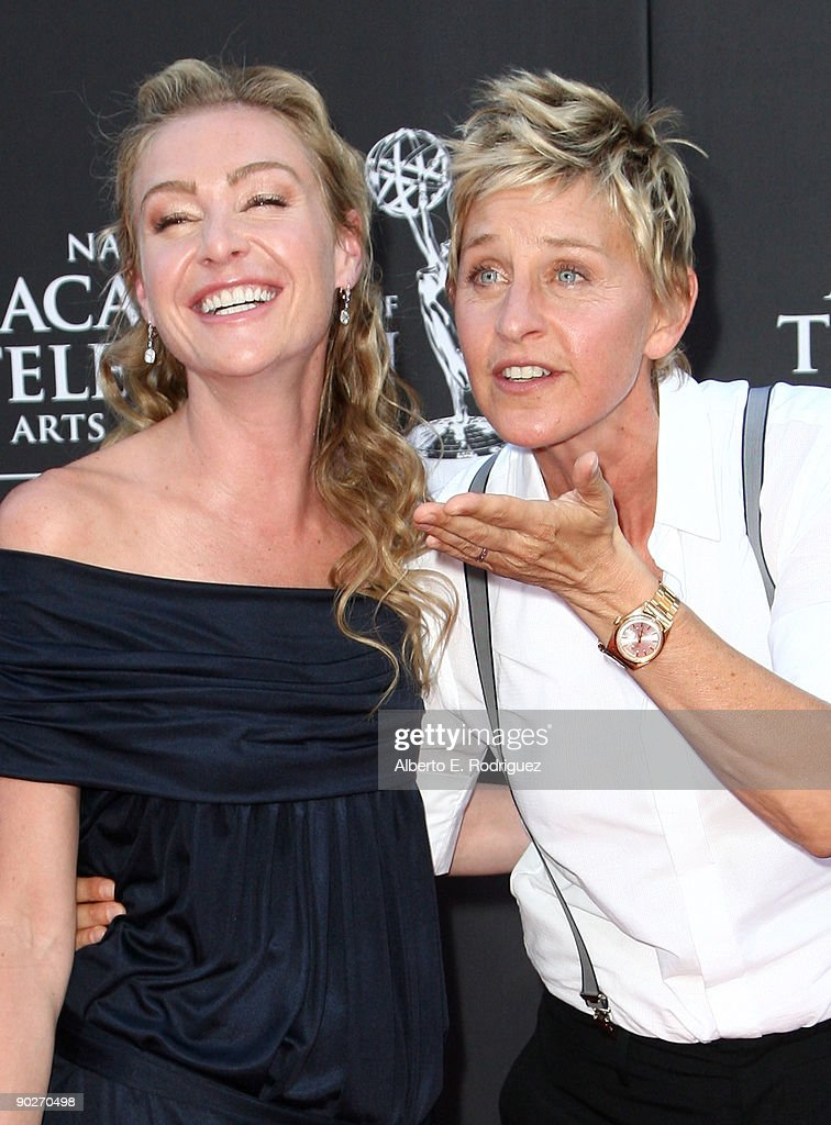 TV personality Ellen DeGeneres (R) and actress Portia de Rossi arrive at the 36th Annual Daytime Emmy Awards at The Orpheum Theatre on August 30, 2009 in Los Angeles, California.