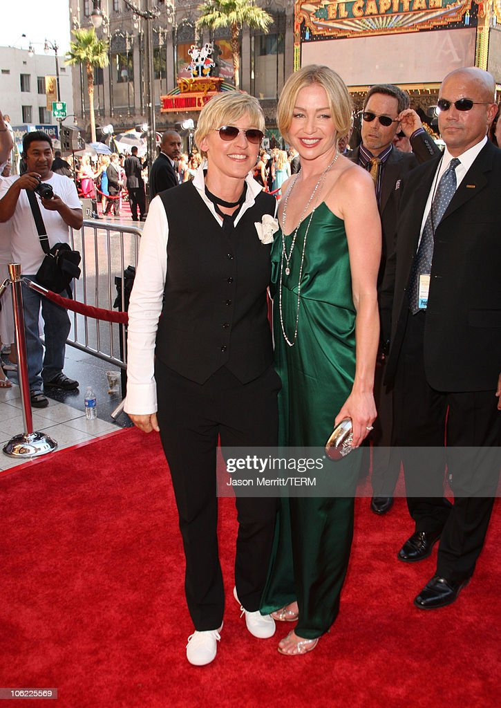TV personality <a gi-track='captionPersonalityLinkClicked' href=/galleries/search?phrase=Ellen+DeGeneres&family=editorial&specificpeople=171367 ng-click='$event.stopPropagation()'>Ellen DeGeneres</a> and Actress <a gi-track='captionPersonalityLinkClicked' href=/galleries/search?phrase=Portia+de+Rossi&family=editorial&specificpeople=204197 ng-click='$event.stopPropagation()'>Portia de Rossi</a> arrivee to The 35th Annual Daytime Emmy Awards at the Kodak Theatre on June 20, 2008 in Los Angeles, California.
