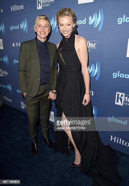 TV personality Ellen DeGeneres and actress Portia de Rossi attend the 26th Annual GLAAD Media Awards at The Beverly Hilton Hotel on March 21 2015 in...