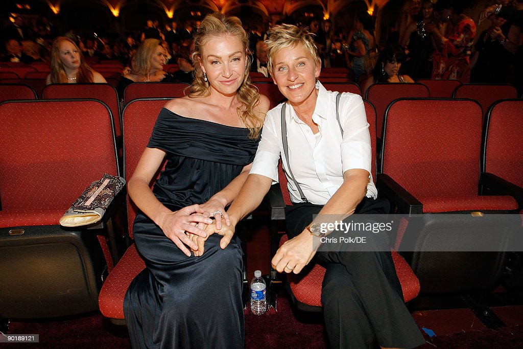 TV personality <a gi-track='captionPersonalityLinkClicked' href=/galleries/search?phrase=Ellen+DeGeneres&family=editorial&specificpeople=171367 ng-click='$event.stopPropagation()'>Ellen DeGeneres</a> (R) and actress Portia de Rossi attend the 36th Annual Daytime Emmy Awards at The Orpheum Theatre on August 30, 2009 in Los Angeles, California.