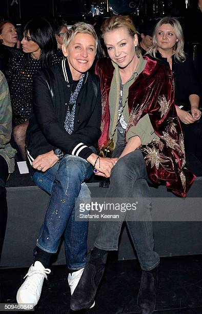TV personality Ellen DeGeneres and actress Portia de Rossi in Saint Laurent by Hedi Slimane attend Saint Laurent at the Palladium on February 10 2016...