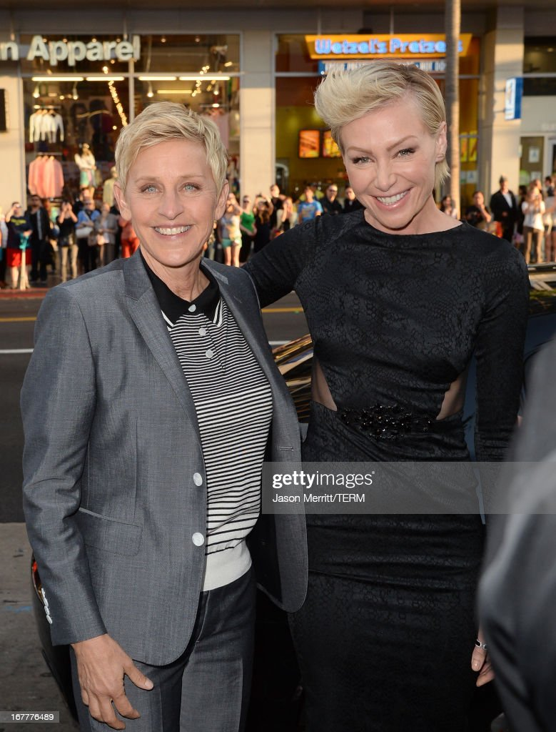 TV personality, <a gi-track='captionPersonalityLinkClicked' href=/galleries/search?phrase=Ellen+DeGeneres&family=editorial&specificpeople=171367 ng-click='$event.stopPropagation()'>Ellen DeGeneres</a> and her wife <a gi-track='captionPersonalityLinkClicked' href=/galleries/search?phrase=Portia+de+Rossi&family=editorial&specificpeople=204197 ng-click='$event.stopPropagation()'>Portia de Rossi</a> arrive at the TCL Chinese Theatre for the premiere of Netflix's 'Arrested Development' Season 4 held on April 29, 2013 in Hollywood, California.