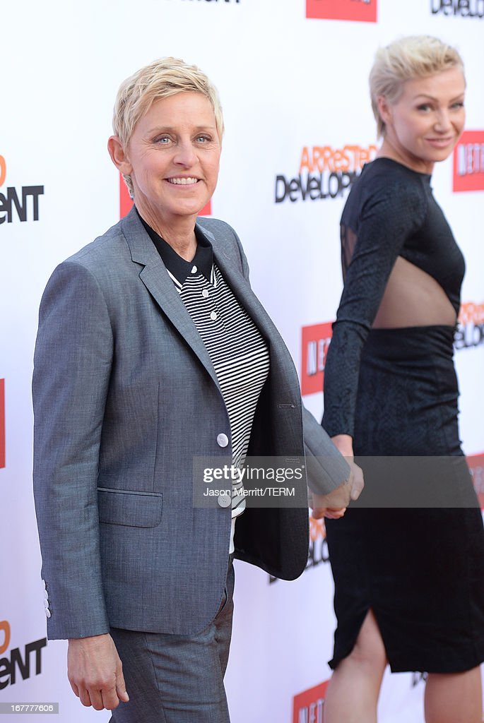 TV personality, Ellen DeGeneres and her wife Portia de Rossi arrive at the TCL Chinese Theatre for the premiere of Netflix's 'Arrested Development' Season 4 held on April 29, 2013 in Hollywood, California.