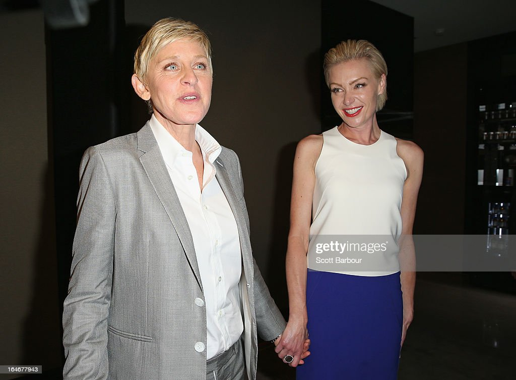 TV personality, <a gi-track='captionPersonalityLinkClicked' href=/galleries/search?phrase=Ellen+DeGeneres&family=editorial&specificpeople=171367 ng-click='$event.stopPropagation()'>Ellen DeGeneres</a> and her wife Portia de Rossia arrive at a <a gi-track='captionPersonalityLinkClicked' href=/galleries/search?phrase=Ellen+DeGeneres&family=editorial&specificpeople=171367 ng-click='$event.stopPropagation()'>Ellen DeGeneres</a> Welcome Party on March 26, 2013 in Melbourne, Australia. <a gi-track='captionPersonalityLinkClicked' href=/galleries/search?phrase=Ellen+DeGeneres&family=editorial&specificpeople=171367 ng-click='$event.stopPropagation()'>Ellen DeGeneres</a> is in Australia to film segments for her TV show, 'Ellen'.