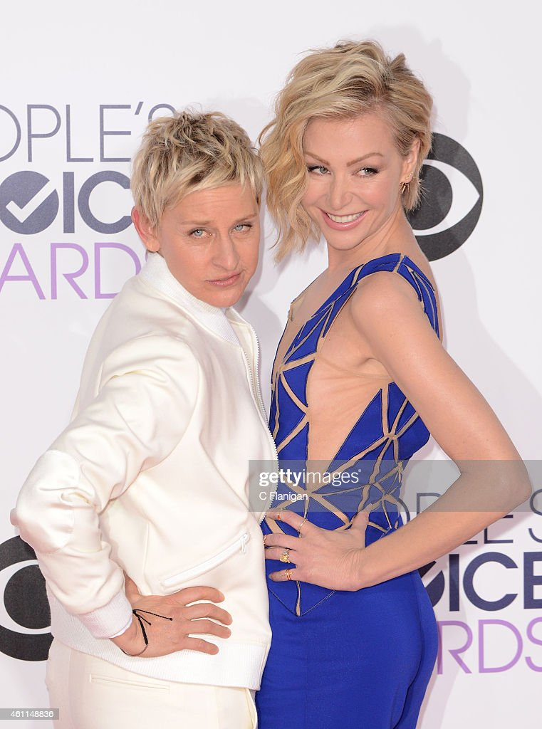TV personality Ellen DeGeneres and Portia de Rossi attend The 41st Annual People's Choice Awards at Nokia Theatre LA Live on January 7, 2015 in Los Angeles, California.