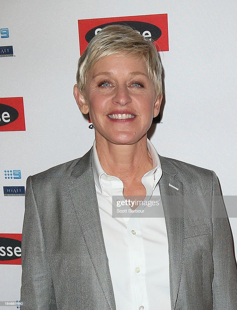 TV personality, <a gi-track='captionPersonalityLinkClicked' href=/galleries/search?phrase=Ellen+DeGeneres&family=editorial&specificpeople=171367 ng-click='$event.stopPropagation()'>Ellen DeGeneres</a> arrives at a <a gi-track='captionPersonalityLinkClicked' href=/galleries/search?phrase=Ellen+DeGeneres&family=editorial&specificpeople=171367 ng-click='$event.stopPropagation()'>Ellen DeGeneres</a> Welcome Party on March 26, 2013 in Melbourne, Australia. <a gi-track='captionPersonalityLinkClicked' href=/galleries/search?phrase=Ellen+DeGeneres&family=editorial&specificpeople=171367 ng-click='$event.stopPropagation()'>Ellen DeGeneres</a> is in Australia to film segments for her TV show, 'Ellen'.