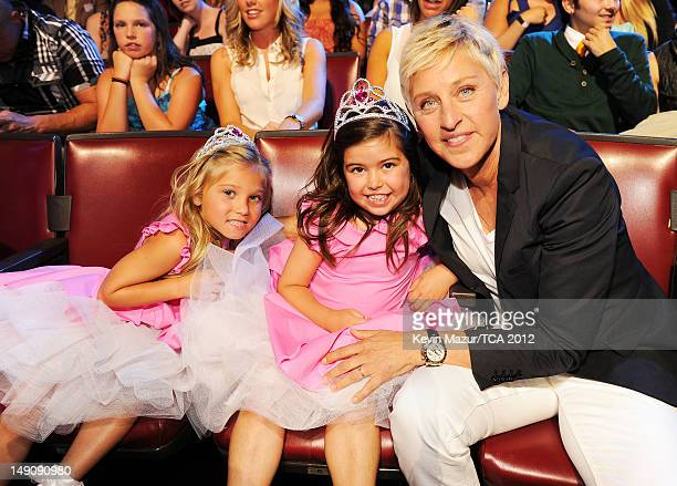 TV personality Ellen DeGeneres with Rosie McClelland and Sophia Grace Brownlee in the audience during the 2012 Teen Choice Awards at Gibson...