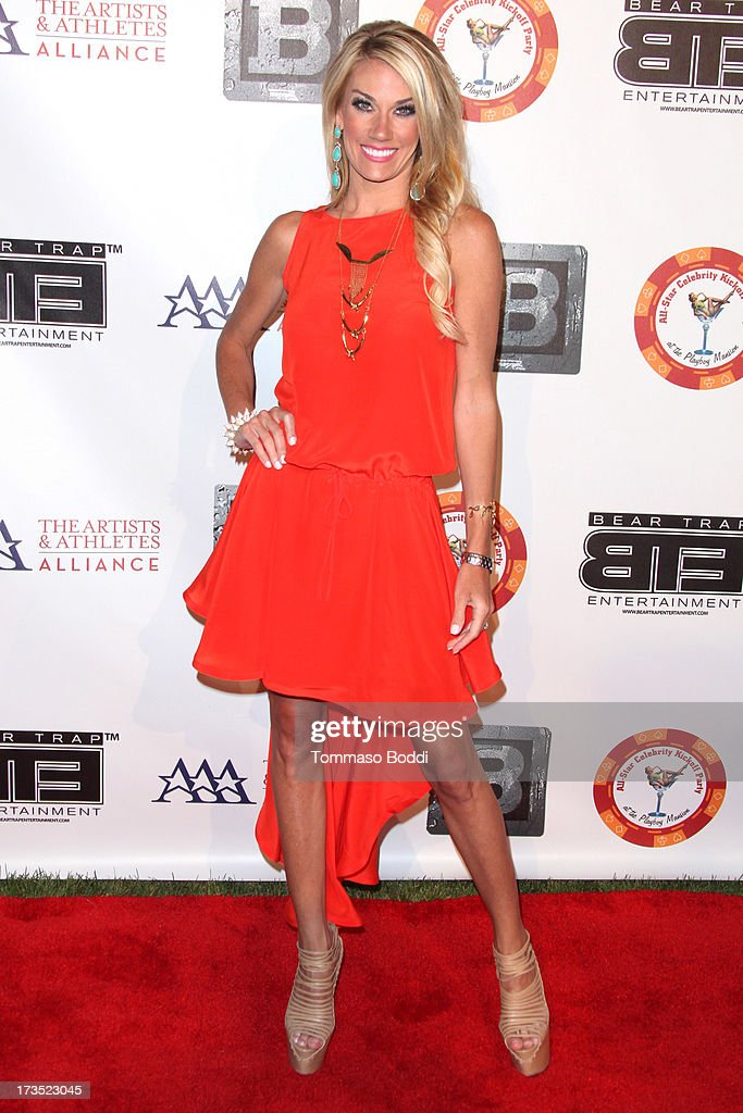 TV personality Emily Dees Boulden attends the 8th annual BTE All-Star Celebrity Kickoff Party held at The Playboy Mansion on July 15, 2013 in Beverly Hills, California.