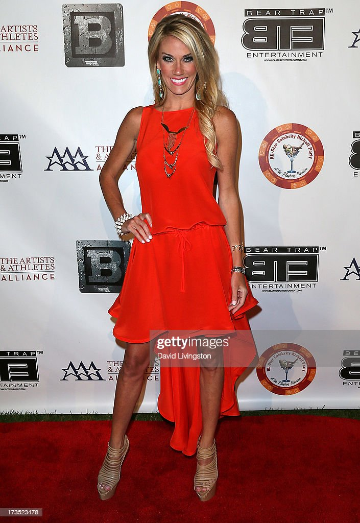 TV personality Emily Dees Boulden attends the 8th Annual BTE All-Star Celebrity Kickoff Party at the Playboy Mansion on July 15, 2013 in Beverly Hills, California.
