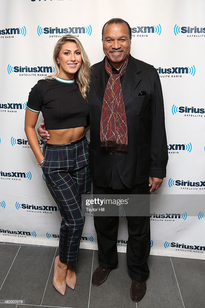 TV personality Emma Slater and actor Billy Dee Williams visit the SiriusXM Studios on April 2 2014 in New York City