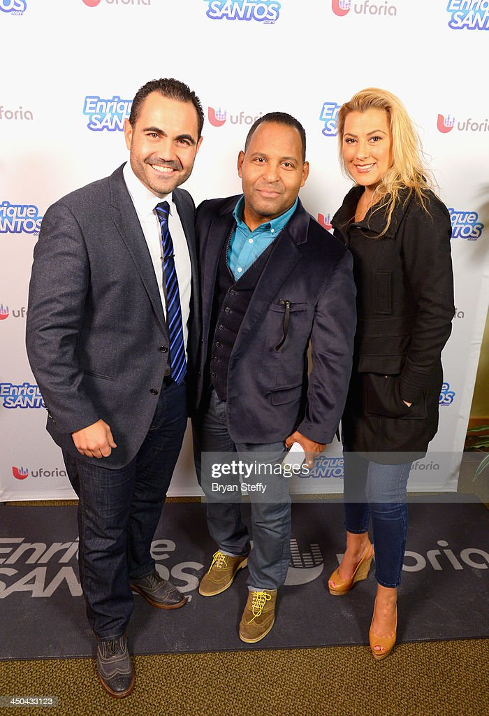 TV personality Enrique Santos, actor Tony Dandrades and TV personality Luisa Fernanda attend the Univision Radio Remotes during the 14th annual Latin GRAMMY Awards at the Mandalay Bay Events Center on November 18, 2013 in Las Vegas, Nevada.