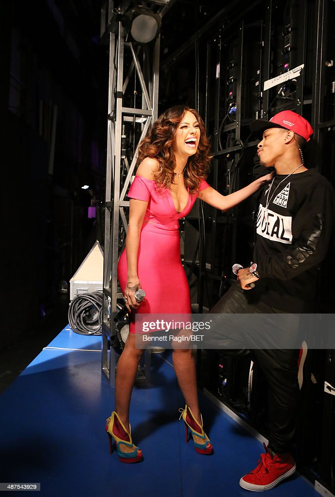 TV personality Erica Mena and 106 & Park host <a gi-track='captionPersonalityLinkClicked' href=/galleries/search?phrase=Bow+Wow+-+Rapper&family=editorial&specificpeople=211211 ng-click='$event.stopPropagation()'>Bow Wow</a> attend 106 & Park at BET studio on April 30, 2014 in New York City.