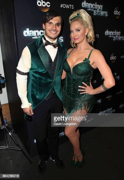 TV personality Erika Jayne and dancer Gleb Savchenko attend 'Dancing with the Stars' Season 24 at CBS Televison City on April 3 2017 in Los Angeles...