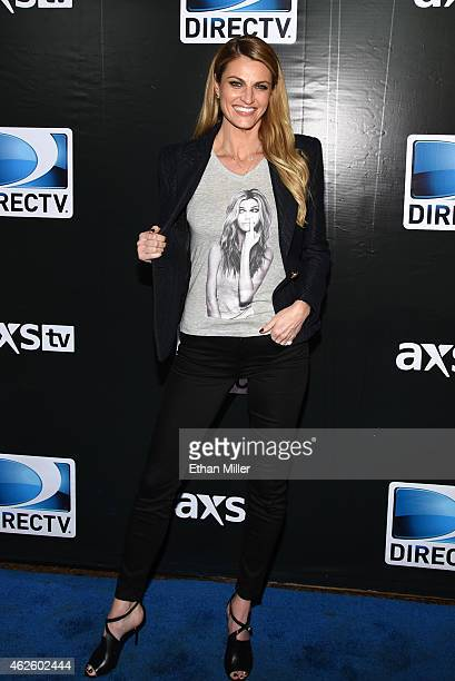 TV personality Erin Andrews attends DirecTV Super Saturday Night hosted by Mark Cuban's AXS TV and Pro Football Hall of Famer Michael Strahan at...