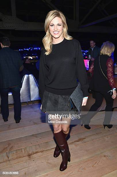 TV personality Erin Andrews attends the DirecTV and Pepsi Super Thursday Night featuring Dave Matthews Band at Pier 70 on February 4 2016 in San...