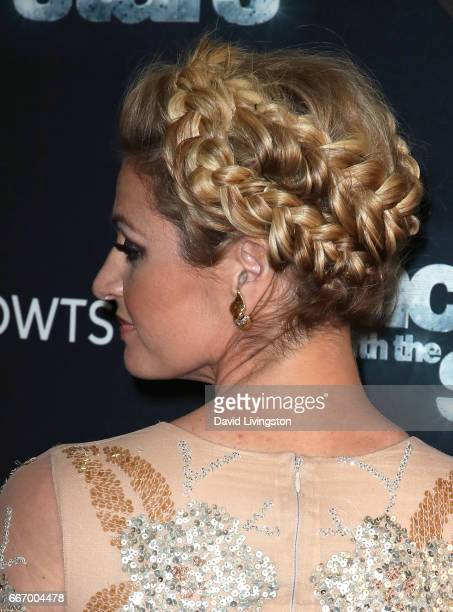 TV personality Erin Andrews hair detail attends 'Dancing with the Stars' Season 24 at CBS Televison City on April 10 2017 in Los Angeles California