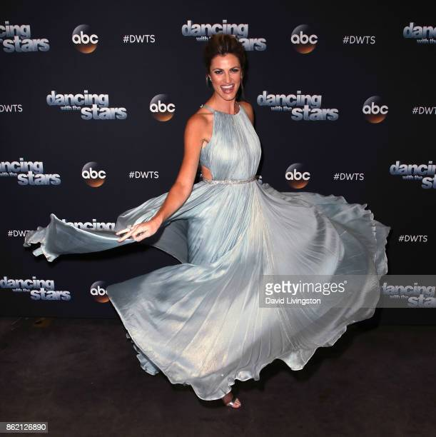 TV personality Erin Andrews poses at 'Dancing with the Stars' season 25 at CBS Televison City on October 16 2017 in Los Angeles California