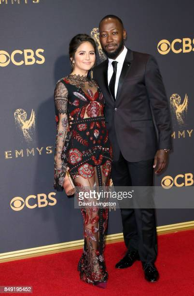 TV personality Erin Lim and actor Lamorne Morris attend the 69th Annual Primetime Emmy Awards Arrivals at Microsoft Theater on September 17 2017 in...