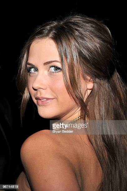 TV personality Erin Lucas attends the Badgley Mischka Fall 2010 Fashion Show during MercedesBenz Fashion Week at The Tent at Bryant Park on February...
