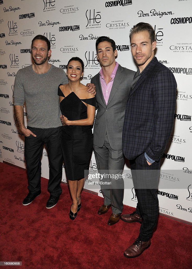 TV personality Ernesto Arguello, actress Eva Longoria, Ben Patton and Tim Lopez from the television dating show 'Ready for Love' arrive at the grand opening of SHe by Morton's at Crystals at CityCenter on February 2, 2013 in Las Vegas, Nevada.