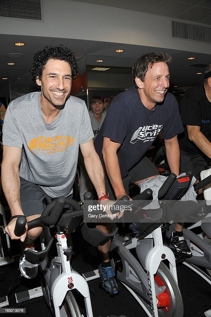 TV personality Ethan Zohn (L) and actor/comedian Seth Meyers attend the 2013 Cycle For Survival Benefit at Equinox Rock Center on March 3, 2013 in New York City.