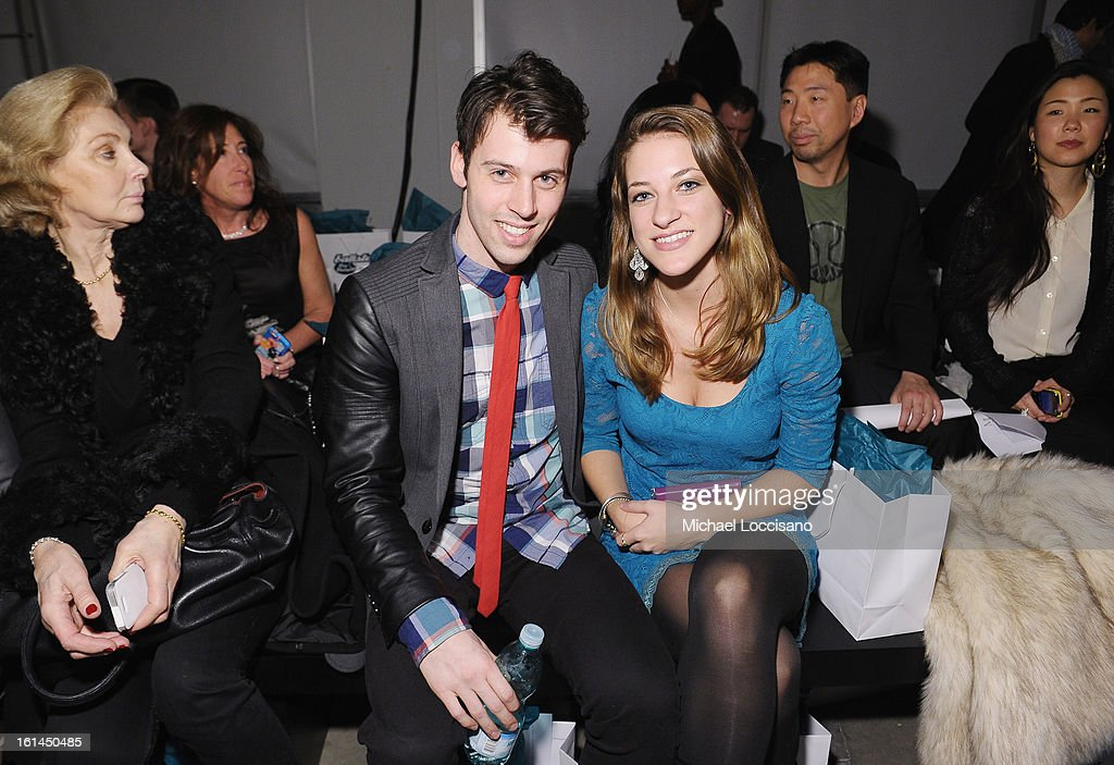 TV Personality Evan Ruggiero (L) and Chelsey Ristaino attend the Malan Breton fall 2013 fashion show during Mercedes-Benz Fashion Week at Pier 59 on February 10, 2013 in New York City.