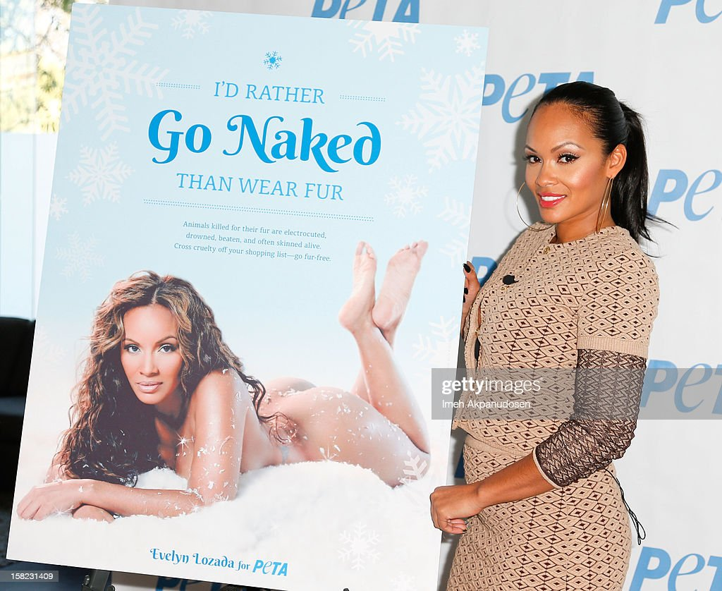 TV personality Evelyn Lozada unveils her 'Cheeky' new winter-themed naked anti-fur ad for PETA held at the at The Bob Barker Building on December 11, 2012 in Los Angeles, California.