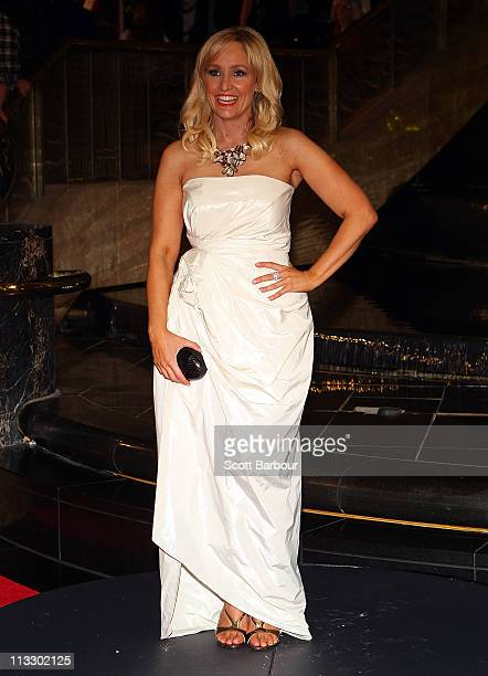 TV personality Fifi Box arrives on the red carpet ahead of the 2011 Logie Awards at Crown Palladium on May 1 2011 in Melbourne Australia