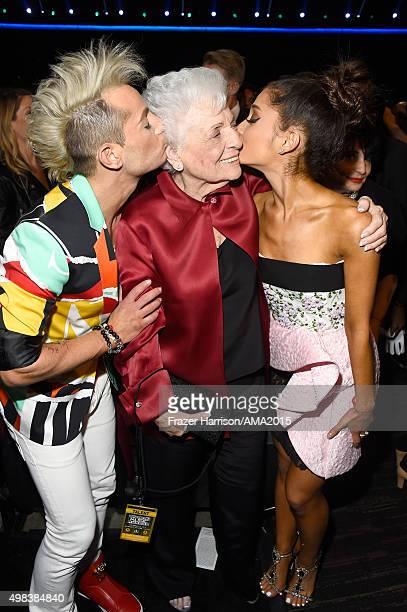 TV personality Frankie J Grande Marjorie 'Nonna' Grande and recording artist Ariana Grande attend the 2015 American Music Awards at Microsoft Theater...
