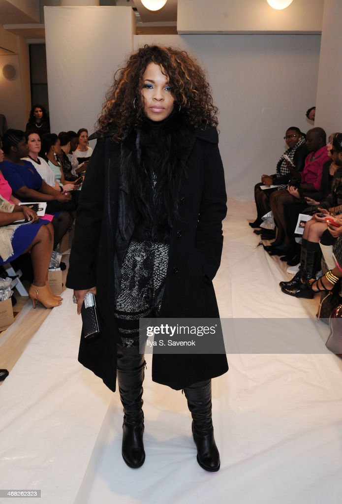 TV personality Free attends the Designer's Collective fashion show during MercedesBenz Fashion Week Fall 2014 at Helen Mills Event Space on February...